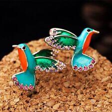 Gifts Alloy Women Bird Shape Earrings Crystal Drill Enamel Glaze Stud Earring