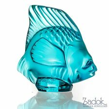 Lalique Crystal Fish Figurine, Turquoise