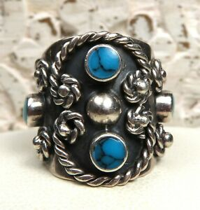 CLASSIC SOUTHWEST/MEXICO STERLING SILVER AND TURQUOISE RING SZ 6