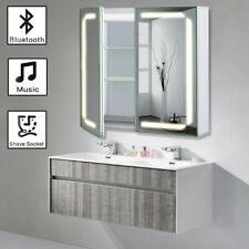 New Wall Mounted Bathroom Led Mirror Cabinet Mirror Storage Cupboard w/Bluetooth