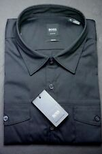 NWT Hugo Boss $175 Men's Mirko Slim Fit Military Black Stretch Cotton Shirt XL