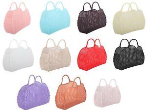 New Jelly Vintage Style Plastic Mesh Mini Bag Purse, Foldable Beach Bag.