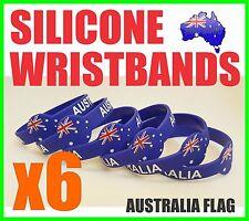 6x Brand new Suovenir AUSTRALIA FLAG Aussie Silicone Wristband Bracelets