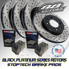 Front+Rear Drilled & Slotted Black Platinum Series Rotors & Stoptech Brake Pads