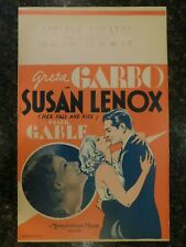 SUSAN LENOX (HER FALL AND RISE) Original 1931 Window Card, C8.5 VF to Near Mint