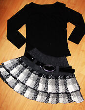 GIRLS BLACK TOP & GREY WHITE TARTAN PLEATED FLARED RUFFLE PARTY SKIRT age 11-12