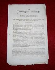 RARE 1805 Pamphlet THEOLOGICAL WRITINGS Of BARON SWEDENBORG Copy Of A LETTER