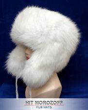 White SAGA SHADOW FOX Fur Russian Ushanka Winter Hat Chapka Pelzmütze Fellmütze