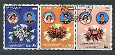 PARAGUAY, LOT de 3 timbres LADY DIANA et PRINCE CHARLES, FLEURS, oblitérés