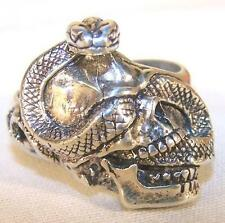 1 DELUXE SNAKE THUR SKULL HEAD SILVER BIKER RING BR174 mens jewelry RINGS NEW