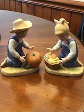 "Homco Denim Days Figurine Set #1518 ""Harvest Helpers"""