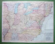 1909 MAP ORIGINAL Baedeker - UNITED STATES Eastern Part incl. Railroads