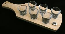 Cowboy Hat Set of 6 Shot Glasses with Wooden Paddle Tray Holder 85