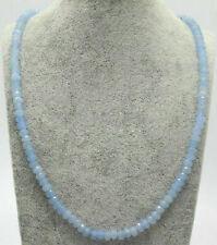 Genuine Natural 2x4mm Light Blue Jade Faceted Gems Beads Necklace 18''
