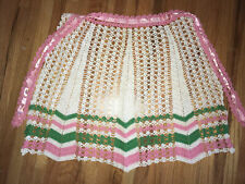 New listing Vintage Crocheted Half Apron - pink Green & White