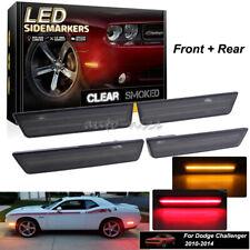 Front + Rear Amber Red LED Side Marker Light For 08-14 Dodge Challenger RT SRT8