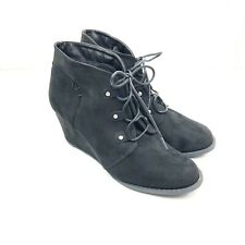 Rampage Udele Ankle Wedge Booties Boots Womens 10M Black Vegan Leather Lace Up
