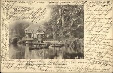 Dusseldorf Germany Schwanenspiegel und Fischerhaus c1900 Postcard