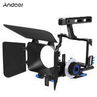 Andoer Camera Video Cage Rig+15mm Rod Follow Focus Grip for Canon Nikon TA F6F8