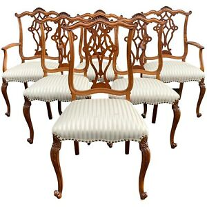 Set of Six Chippendale Style Mahogany Upholstered Dining Chairs