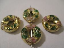 22  Pcs 15 mm Gold on  Gold  Cloisonne Do-Nut Beads    A263