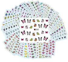 50Sheets Nail Art Water Decals Stickers Transfers Deep Purple Flowers Gel Polish