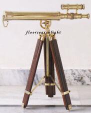 Polished Shiny Nautical Brass Double Barrel Telescope W Wooden Tripod Stand