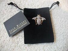 JOAN RIVERS, Signed BEE PIN Goldtone Adorned w Clear Faceted Crystals Free Ship