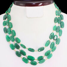 DEMANDED 292.00 CTS EARTH MINED GREEN EMERALD OVAL BEADS NECKLACE - GEM EDH