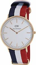 Daniel Wellington 0103DW Classic Cambridge Mens Gold Quartz Watch Nylon Strap