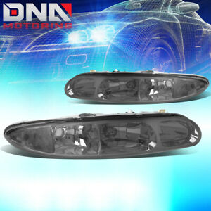 FOR 1999-2004 OLDSMOBILE ALERO PAIR SMOKED HOUSING CLEAR SIDE HEADLIGHT/LAMPS