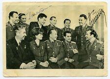 Gagarin Titov Signed Photo Postcard PC Autograph Signature Soviet rare !
