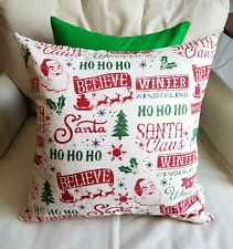 Natural, Red and Green Santa Script Cotton Pillow Covers - Various Sizes