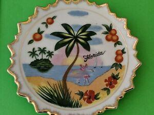 Small Vintage Souvenir Plate FLORIDA Hand painted Oranges Flamingos