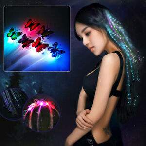 10X Butterfly LED Hair Clip Flashing Multicolour Braid Decoration Light Up Glow