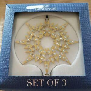Swarovski Figurine 1135182 Stars Snowflakes Gold 3 Piece Set - NEW