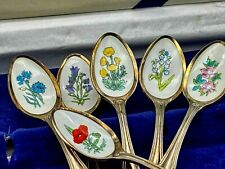 More details for flower decorated teaspoons collectors treasury boxed silver plate porcelain