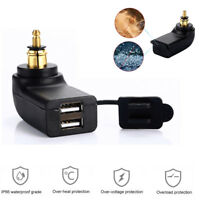 Black Dual USB 4.8A Motorcycle Charger Adapter Waterproof For BMW Din Hella Plug