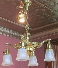 Antique 30's 40's art deco  brass 4 arm chandelier with etched shades restored