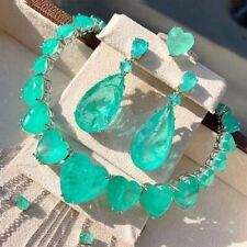 1001 NIGHT SULTANA DUBAI NECKLACE NATURAL HEART COLOMBIAN PALE EMERALDS NECKLACE