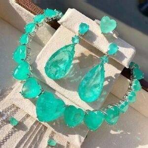 1001 NIGHT QUEEN OF HEARTS NECKLACE NATURAL COLOMBIAN EMERALD DUBAI NECKLACE