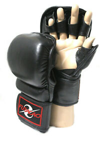 MMA Gloves Boxing Martial Arts Training Leather Bag Grappling Sparring Muay Thai