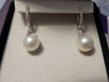 Neil Lane Cultured Pearl Diamond Earrings 14K White Gold Snap Closure Beautiful!