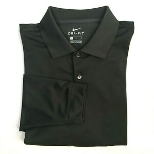 Nike Dri-Fit Men's Size L Polo Shirt Long Sleeve Golf Gray Polyester