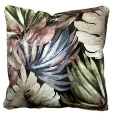 Botanical Cushion Cover Artistic Leaves Printed Cotton Fabric Taupe Pink Blue