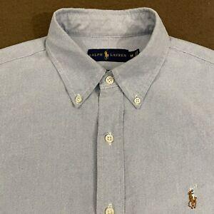 Mens Polo RALPH LAUREN Light Blue Oxford Button Down Shirt Medium