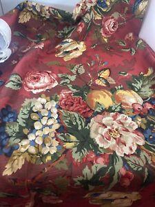 "P Kaufmann DRAPERY UPHOLSTERY FABRIC 5 yd + 12"" deep red floral fruit lg print"