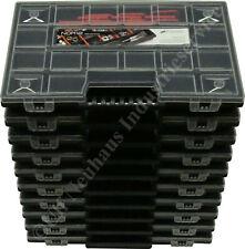 10 Sortierkästen NOR12 schwarz mit roten Trennern