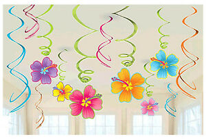 12pc LUAU Hibiscus Hanging Swirl Decorations  Summer Beach Hawaiian Party Supply