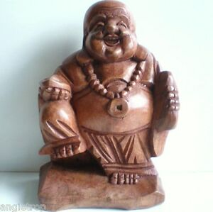 TRAVELLING HAPPY BUDDHA STATUE WOOD CARVED CARVING ART SCULPTURE BALI 21CM